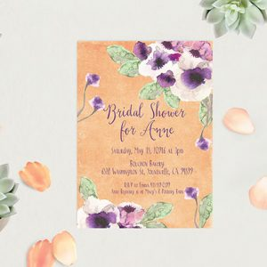 Peach Watercolor anemone Bridal Shower Invitations