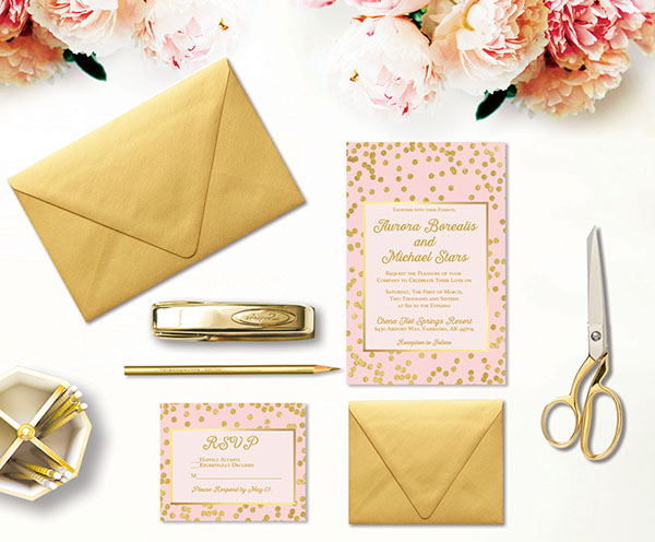 Blush and Gold Confetti Wedding Invitations