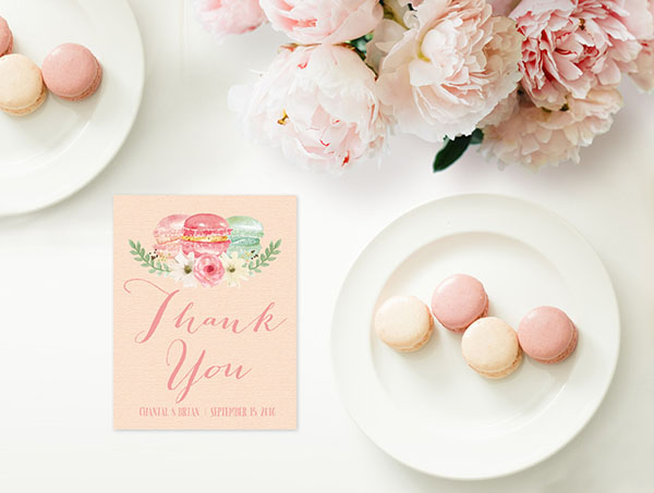 French Macarons Thank You Cards