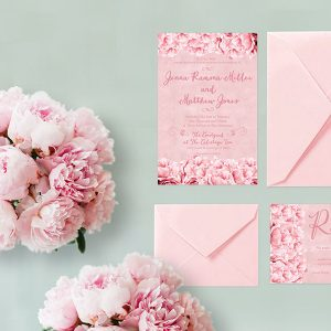 Shabby chic pink peonies wedding invitations