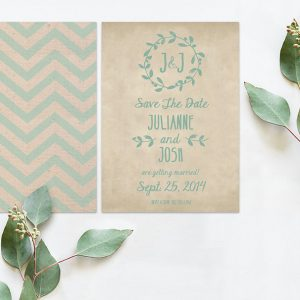 THE JULIANNE - CHEVRON AND BURLAP SAVE THE DATE CARDS