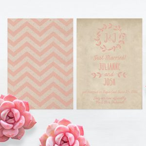 Coral Pink Chevron Burlap Wedding Elopement Cards