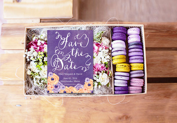 Violet Bohemian save the date cards