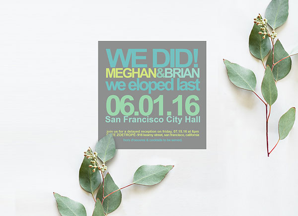 Modern Grey Square Elopement Cards