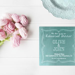 The Olive – Robin Egg Blue Square Rehearsal Dinner
