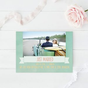 Mint Watercolor Wedding Announcements