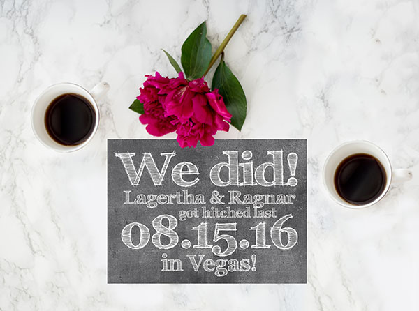 Chalkboard Chic Wedding Announcements or Elopement Cards