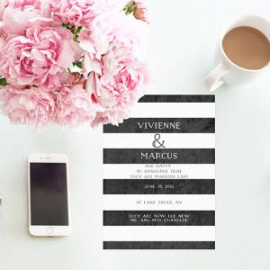 Black and White Wedding Announcements or Elopement Cards
