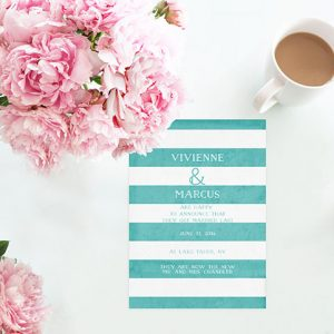 Aqua Stripes Wedding Announcements or Elopement Cards
