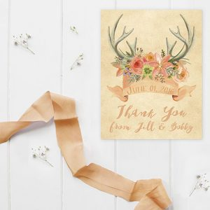 Rustic Chic Antler Peach Thank You Cards