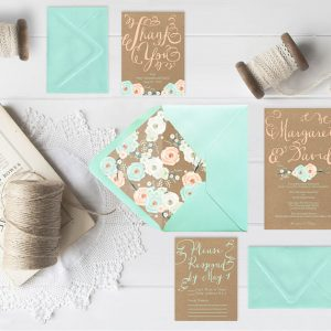 Mint green & coral peach flowers kraft wedding invitations