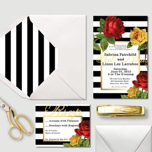 Black & white stripes w/ Red & Yellow Roses Wedding Invitations