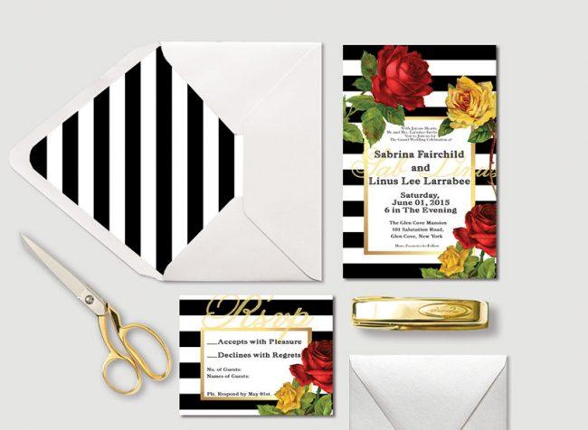 Black & white stripes w/ Red & Yellow Roses Wedding Invitations