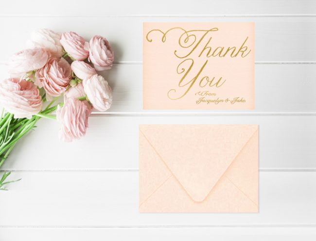 Blush and Gold Thank You Cards