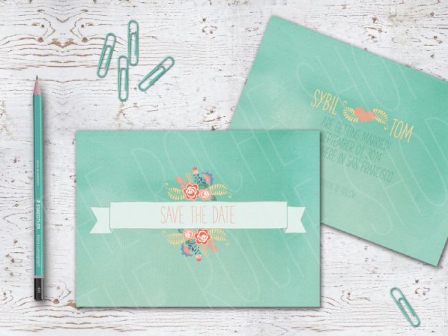 Mint Green Floral Banner Save The Date Cards