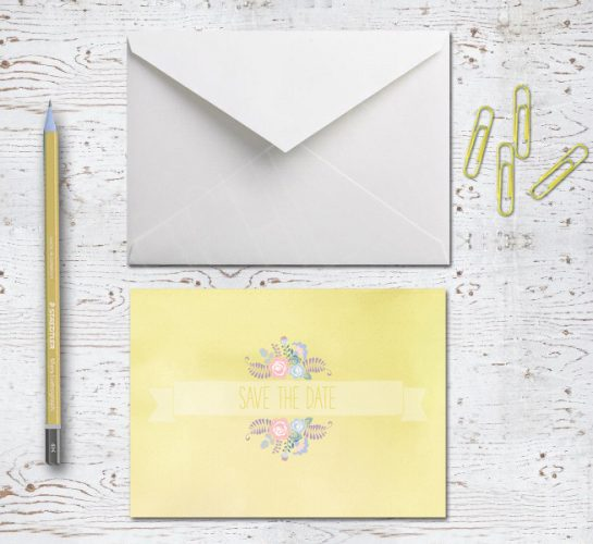 pastel yellow floral banner save the date card
