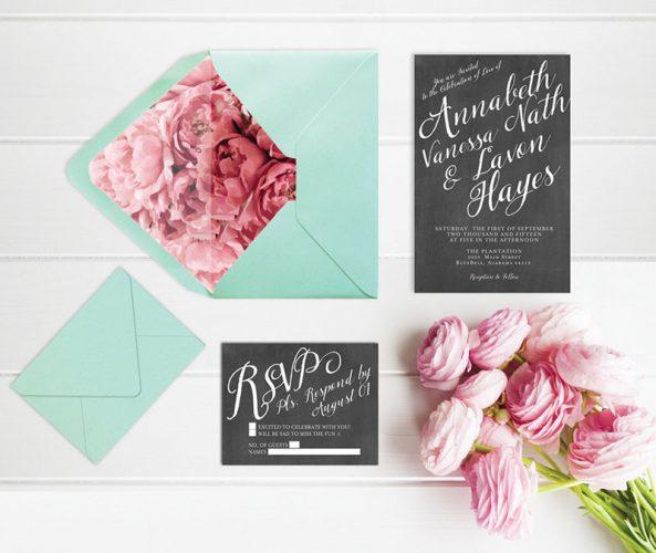 Chalkboard & Calligraphy Wedding Invitations