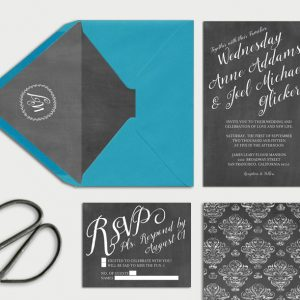 Chalkboard damask wedding invitations