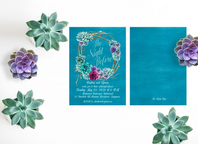 Succulents Rehearsal Dinner Invitations