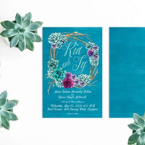 watercolor succulents wreath wedding invitations