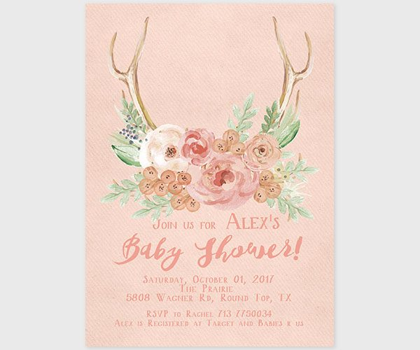 THE ALEX - Rustic chic antler with blush flowers baby shower invitations
