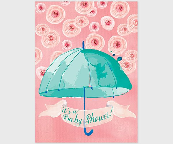 THE CATHERINE - Mint & coral pink watercolor umbrella baby shower invitations