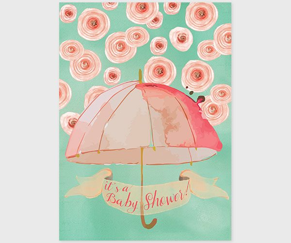 THE CATHERINE - Mint & peach watercolor umbrella baby shower invitations