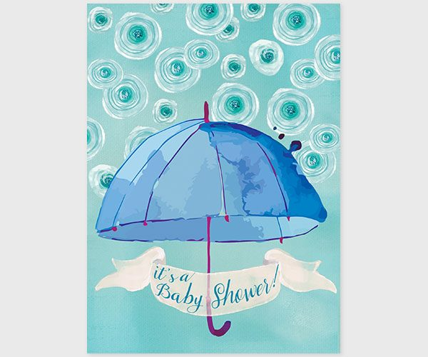 The Catherine -Blue & green watercolor umbrella baby shower invitations