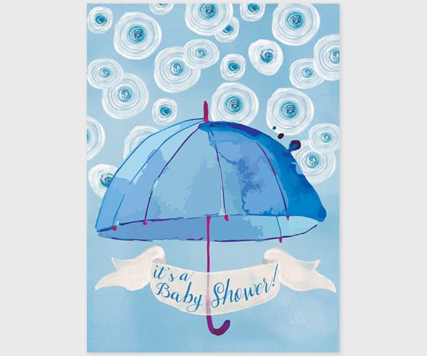 THE CATHERINE - Blue & white watercolor umbrella baby shower invitations