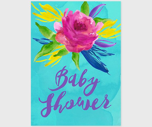 THE AURELIA - Colorful turquoise flowers baby shower invitations
