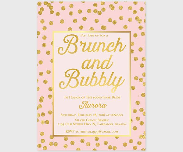 The Aurora – Blush & gold confetti bachelorette party invitations