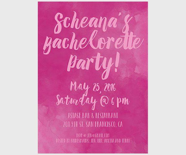 THE SCHEANA - Fuchsia watercolor bachelorette party invitations