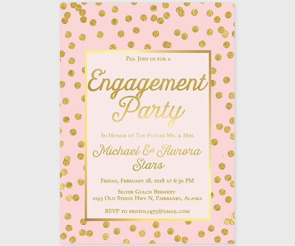The Aurora - Blush & Gold Confetti Engagement Party Invitations