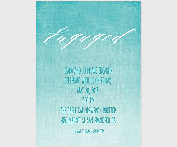 The Ciara - Turquoise Watercolor Engagement Party Invitations