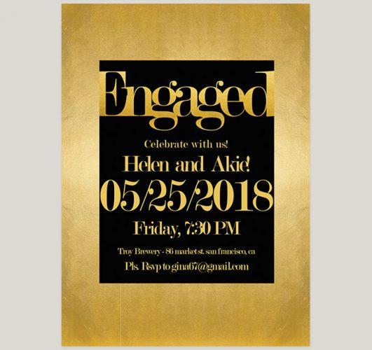 Elegant Modern Gold & Black Engagement Party Invitations