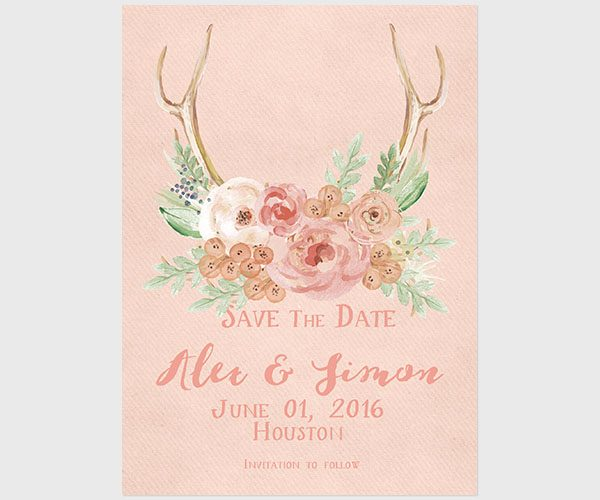The Alex – Antler with peach flowers save the date cards