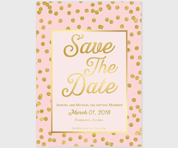 The Aurora – Blush & Gold Confetti Save the Date Cards
