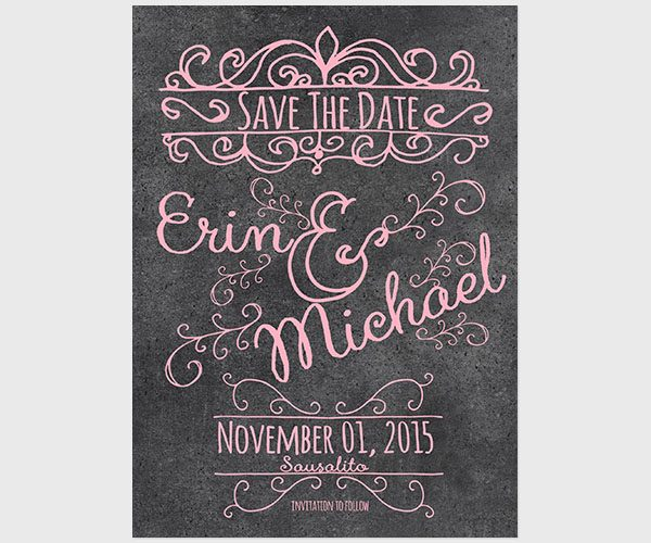 THE ERIN - Pastel Pink Chalkboard Save the Date Cards