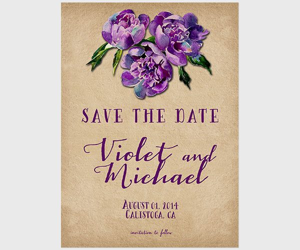 THE VIOLET- Violet vineyard weddings save the date cards