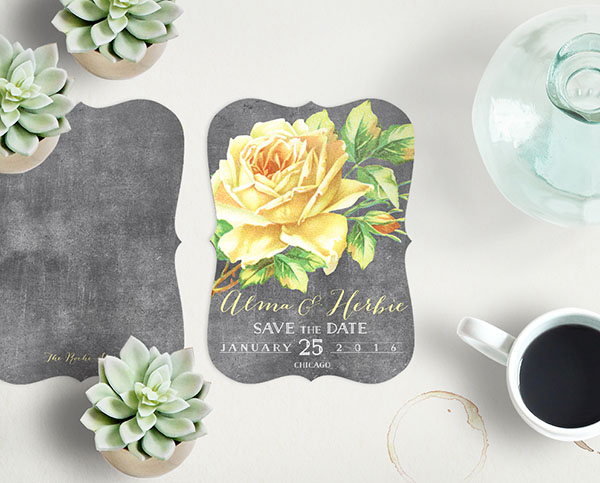 The Alma – Yellow Vintage Rose Save the Date cards