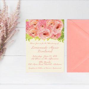 Coral pink watercolor peonies baptism / christening invitations