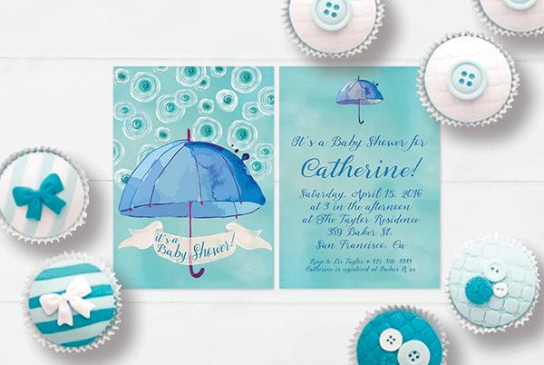 Blue & green watercolor umbrella baby shower invitations