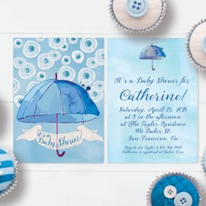 Blue & white watercolor umbrella baby shower invitations