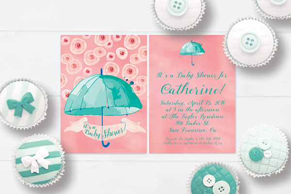 Mint & coral pink watercolor umbrella baby shower invitations