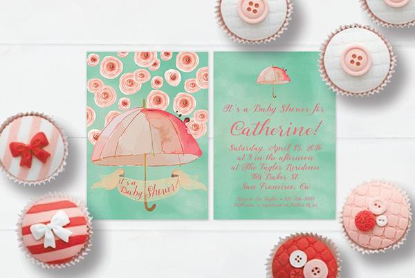 Mint & peach watercolor umbrella baby shower invitations