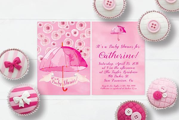 Pink watercolor umbrella baby shower invitations