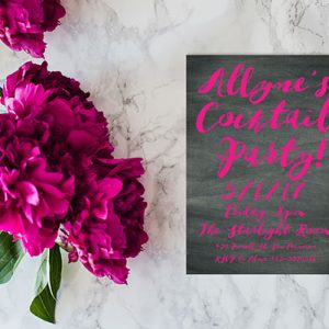 Fuchsia Watercolor brush on chalkboard bachelorette party invitations