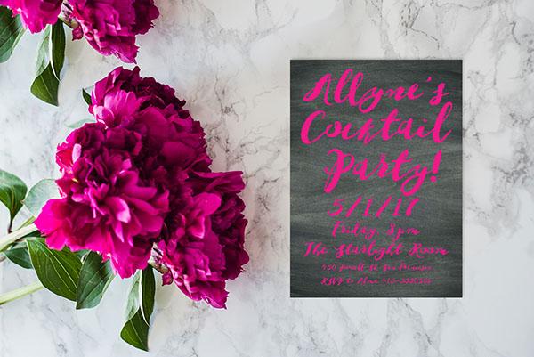 Fuchsia Watercolor brush on chalkboard bachelorette party invitations