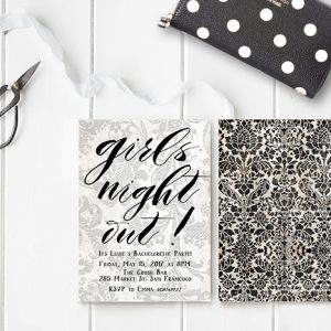 Black & white vintage grunge damask bachelorette party invitations