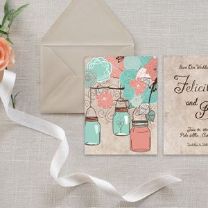 Mason jars in coral aqua save the date card